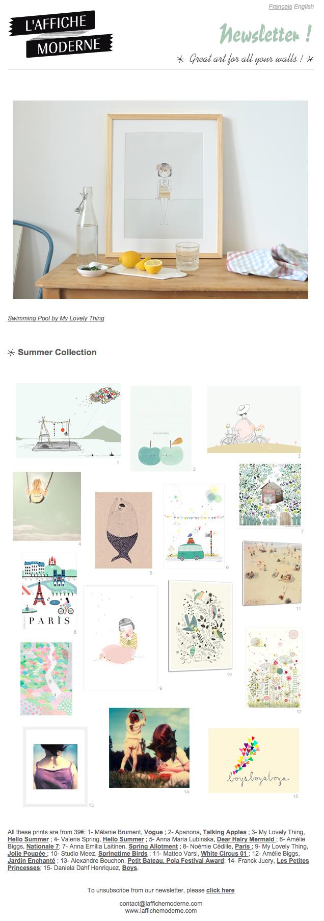 L'Affiche Moderne – Summer Collection - Inspiring newsletter #Design #Art #Newsletter #Ecommerce