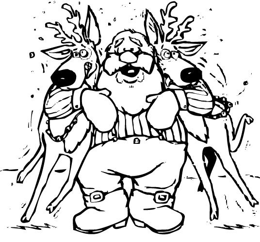 Santa Claus And Two Deer Coloring Page Christmas Coloring Pages