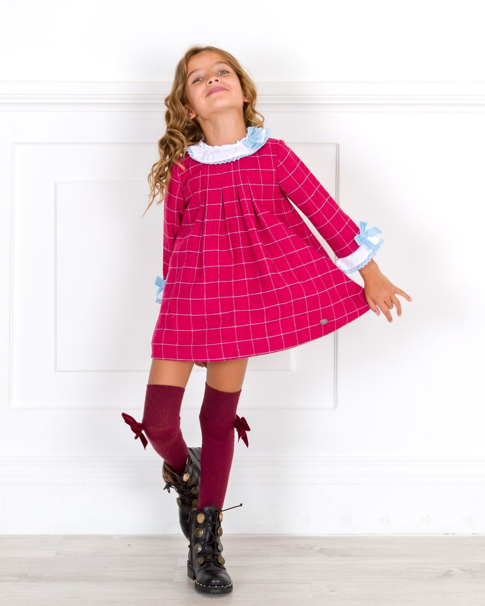 12be82791 Dolce Petit Girls Strawberry Red   Blue Checked Dress