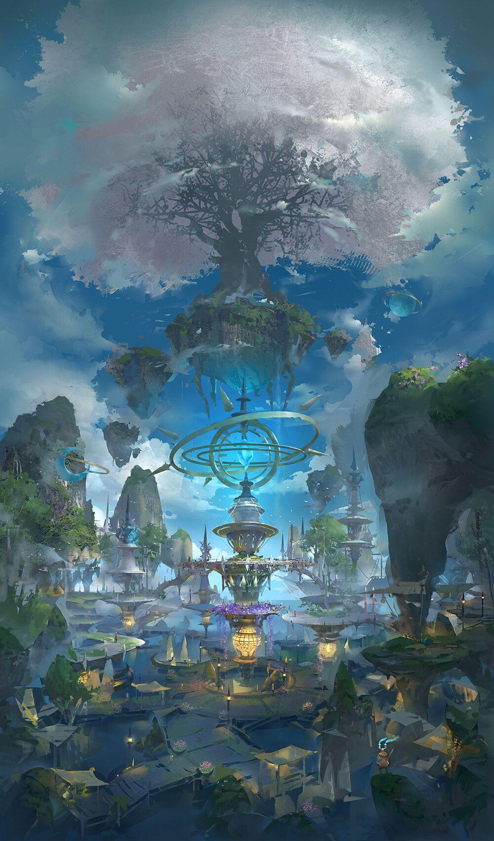 3 LY #art #арт #остров #море #фэнтези #дерево #башня