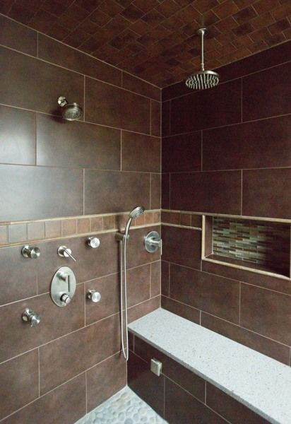 steam shower with bench and shower sprays brown tiles a p interiors and materials alyssa ploszay