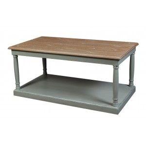 Table Basse Rectangle Bicolore Acajou Massif 100x55cm Romane Table Basse Table Basse Bois Table