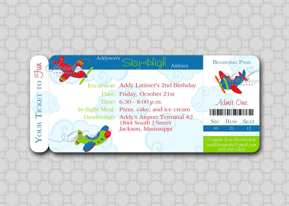 Airplane Birthday Invitation Plane Boarding Pass Ticket Clouds