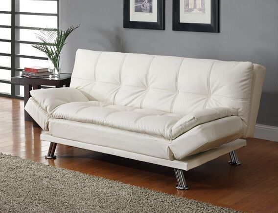 Coaster 300291 White Finish Leather Like Vinyl Folding Futon Sofa Bed With Chrome Legs