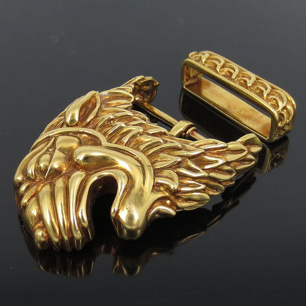 Vintage David Webb 18K Solid Yellow Gold Hand Carved Lion Belt Buckle # DavidWebb