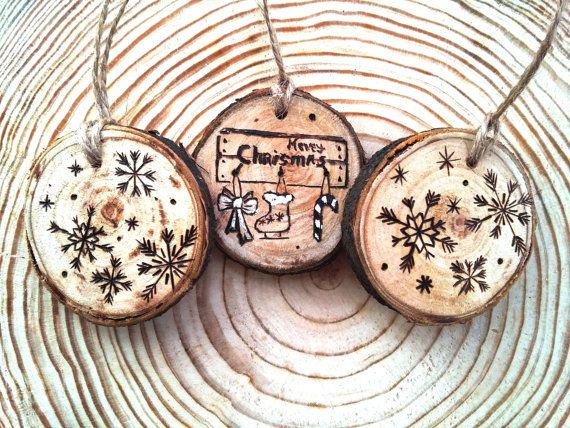 Christmas tree decor, Christmas toys, Rustic Christmas Decor, Modern Christmas, Wooden Christmas Decor, Christmas set, Set of Three, Wooden
