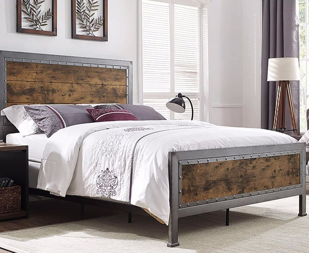 Contemporary Queen Size Industrial Brown Wood Metal Bed Comfort Home Furniture Bedroom Furniture Bedframe Bed Frame And Headboard Bed Furniture Metal Beds