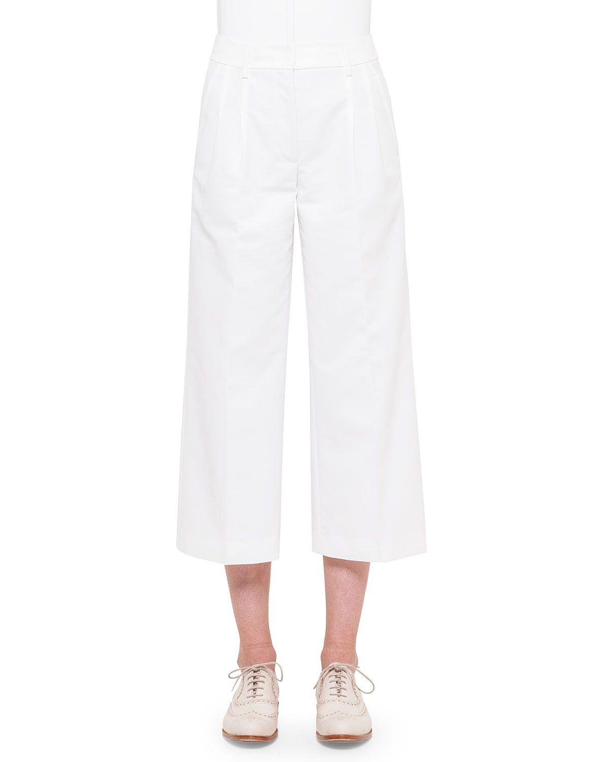 Mira Wide-Leg Cropped Pants, Off White, Size: 16 - Akris