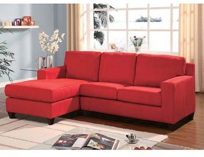 Reversible Chaise Sectional Sofa Red Couch