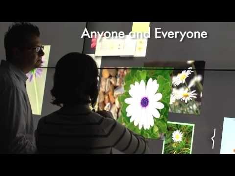Gezien op Youtube: Bluescape van Haworth. Real-time creeren, verzamelen, informatie delen via een groot aanraakscherm. http://youtu.be/4aaRXl38SKk