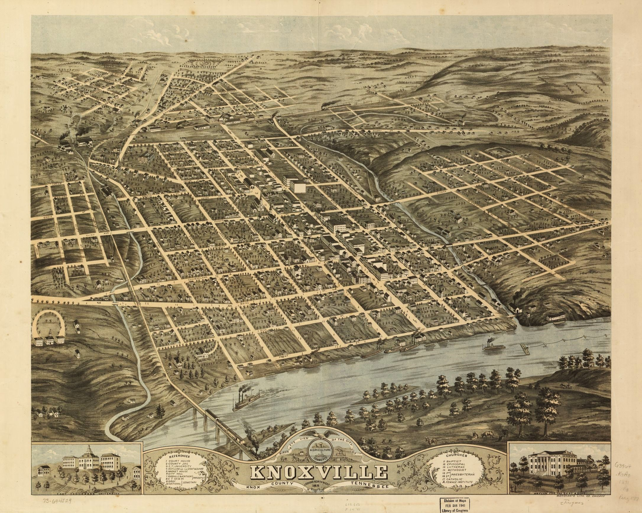Vintage 1871 Birds Eye View Map Knoxville Tennessee USA MAPS