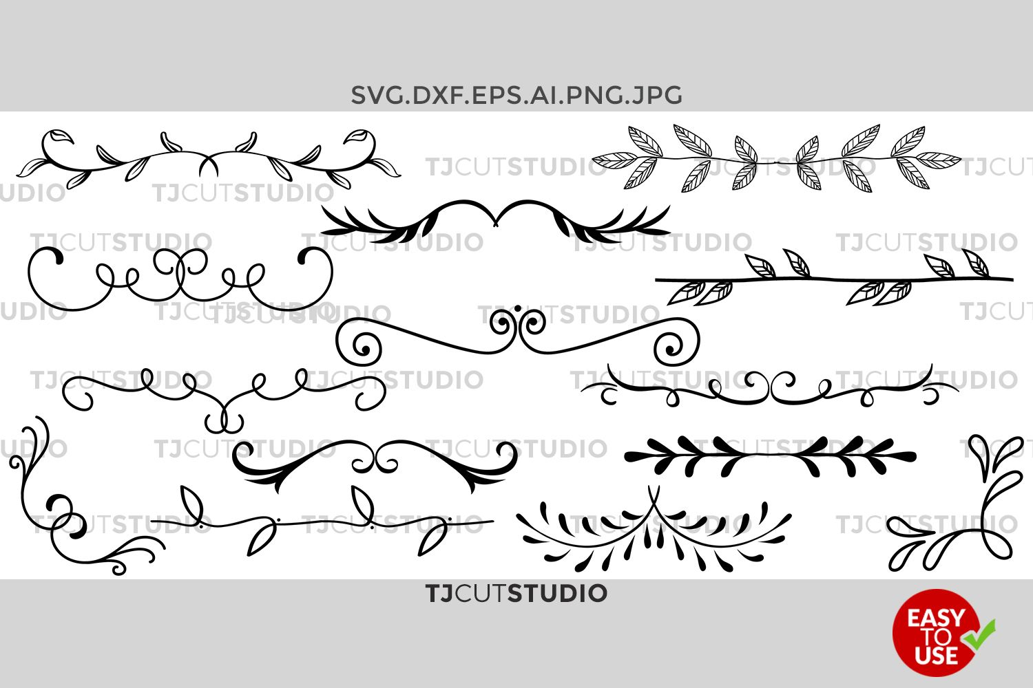 Dividers Svg, Hand drawn Leaves, Leaf Dividers svg | How to draw ...