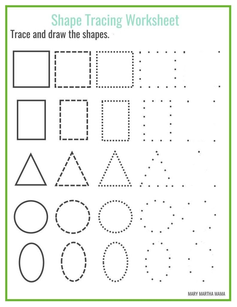 Free shape tracing printables | Shape tracing worksheets ...
