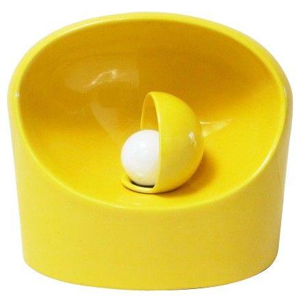 Lampe de bureau en cramique jaune Marcello CUNEO annes 70