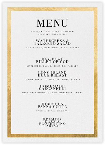 editorial ii menu gold paperless post wedding day