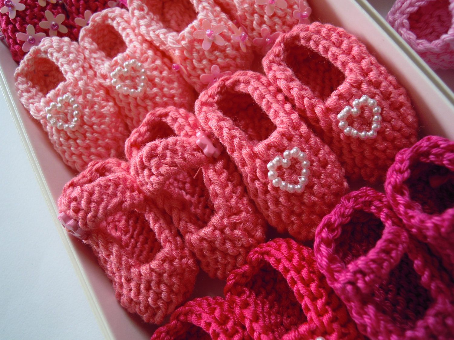 BESTSELLER Girl Baby Shower Decorations: 4 Pairs Hand Knit Mini Booties  Decorations   2 Inches   Shades Of Pink   DECORATION SIZE