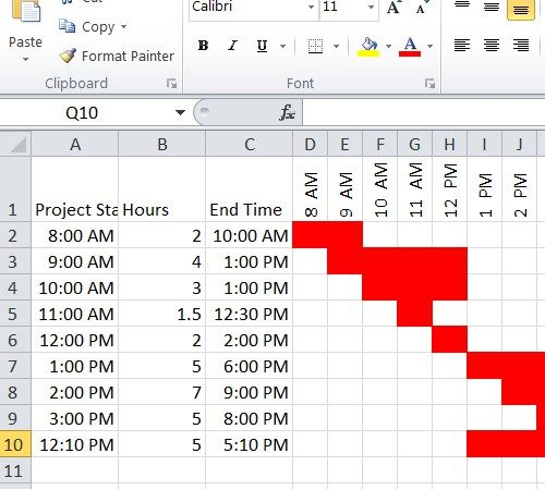 Hourly Gantt Chart Template Excel Excel Pinterest Chart And