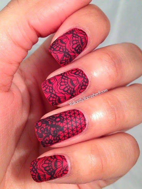 Black And Red Lace Nails Google Meklesana Valentine S Day Nails Trendy Nails Lace Nails