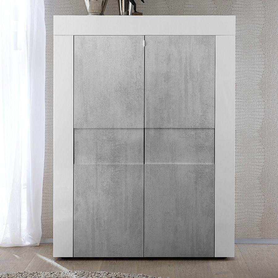 buffet haut blanc laqu brillant et effet b ton factory buffet haut pinterest. Black Bedroom Furniture Sets. Home Design Ideas