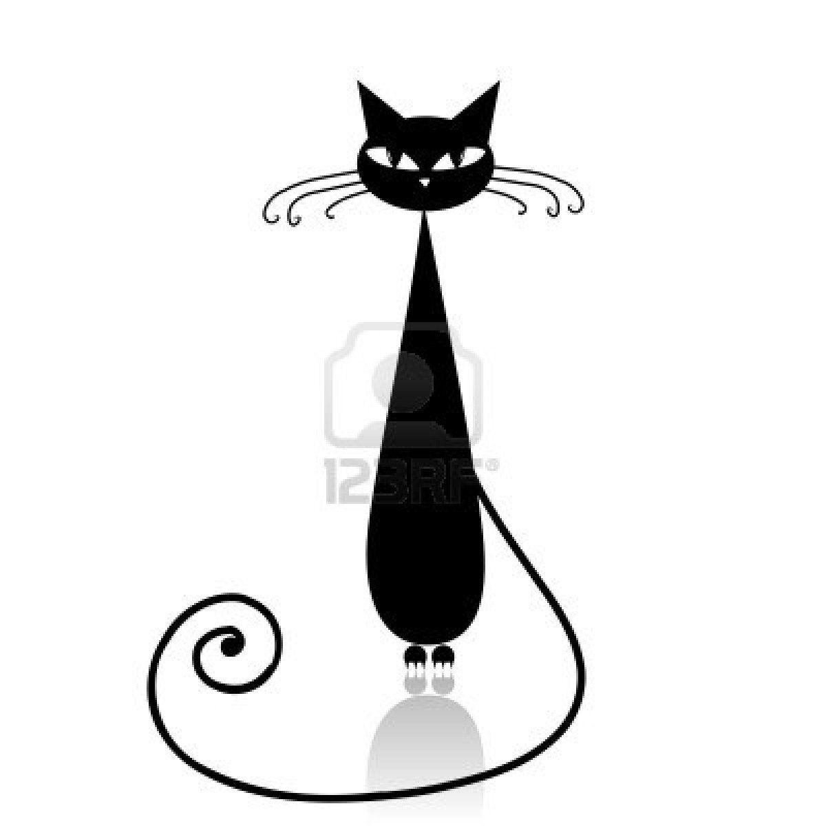 Silhouette de chat noir de votre conception banque d - Dessin chat assis ...
