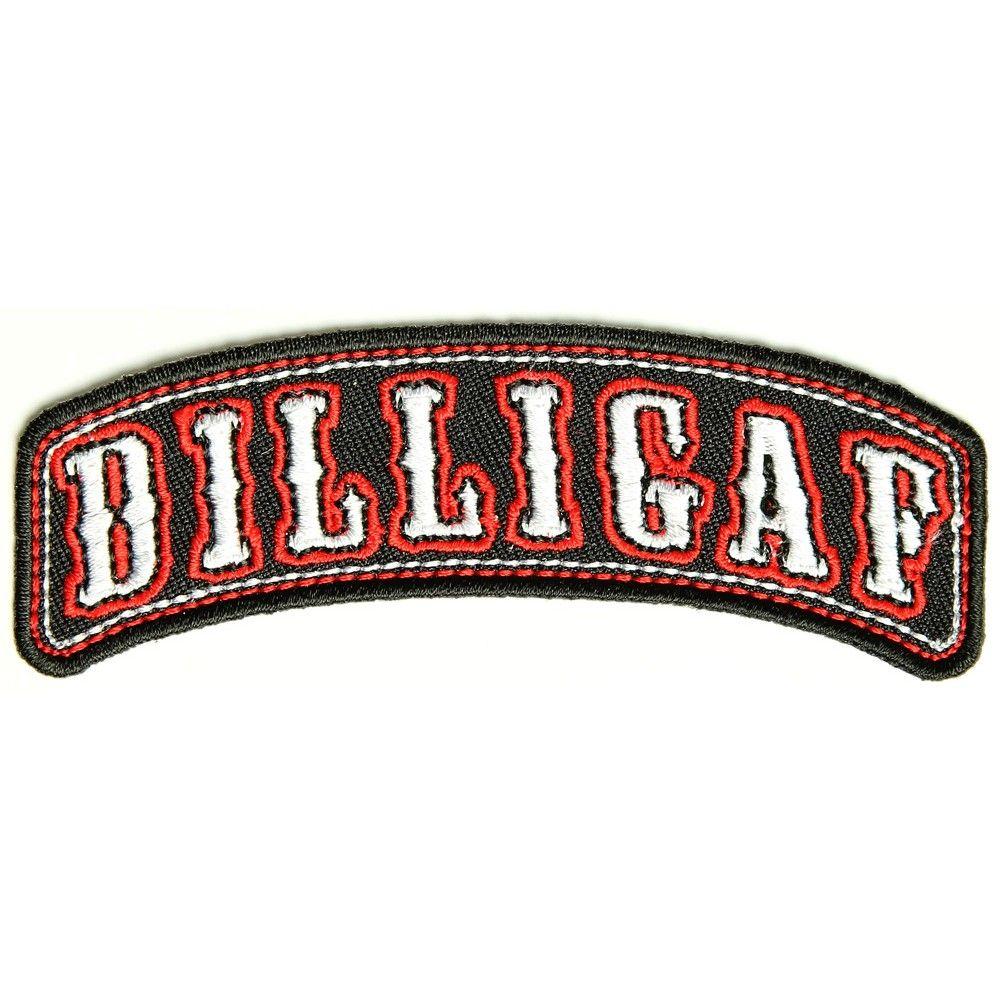 DILLIGAF Red Text Red Border Motorcycle Biker Vest Patch