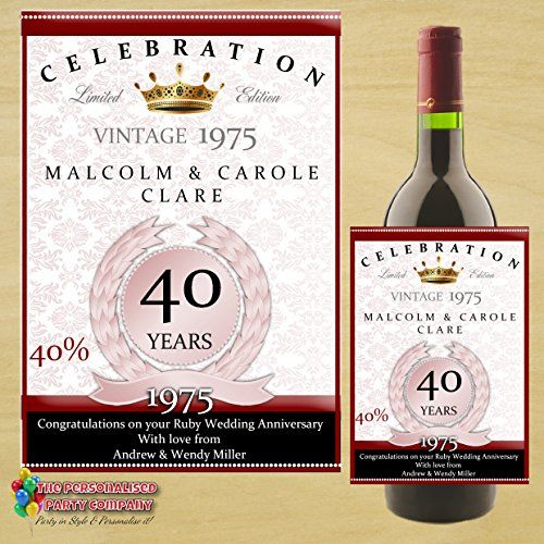 Personalised 40th Ruby Wedding Anniversary WINE BOTTLE LABEL