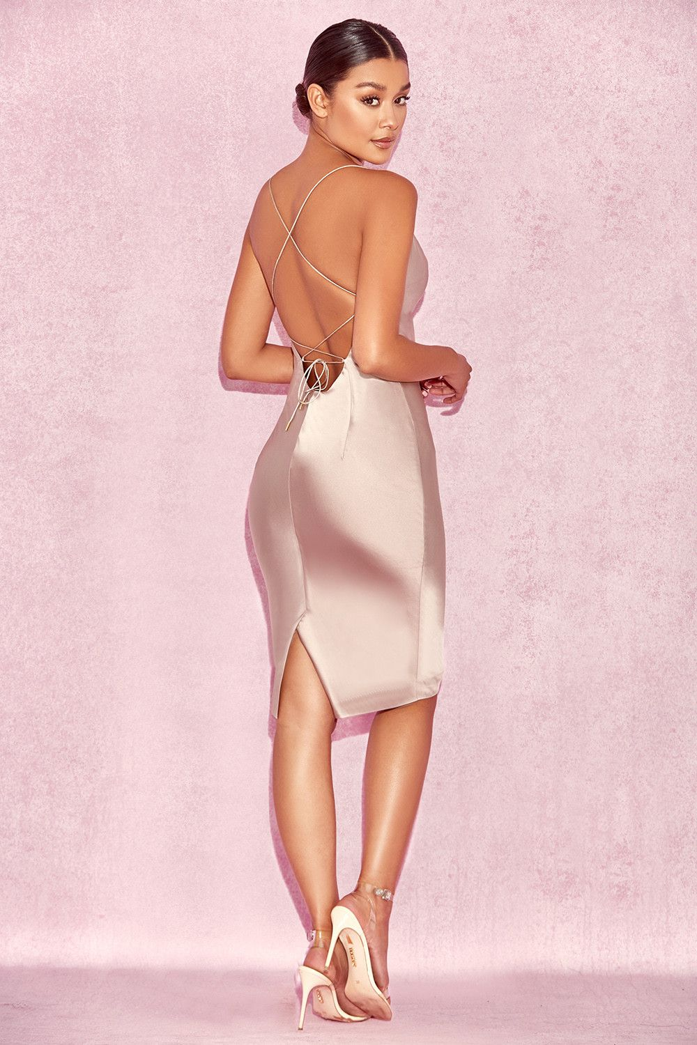 Clothing : Bodycon Dresses : \'Alette\' Champagne Satin Cowl Back ...