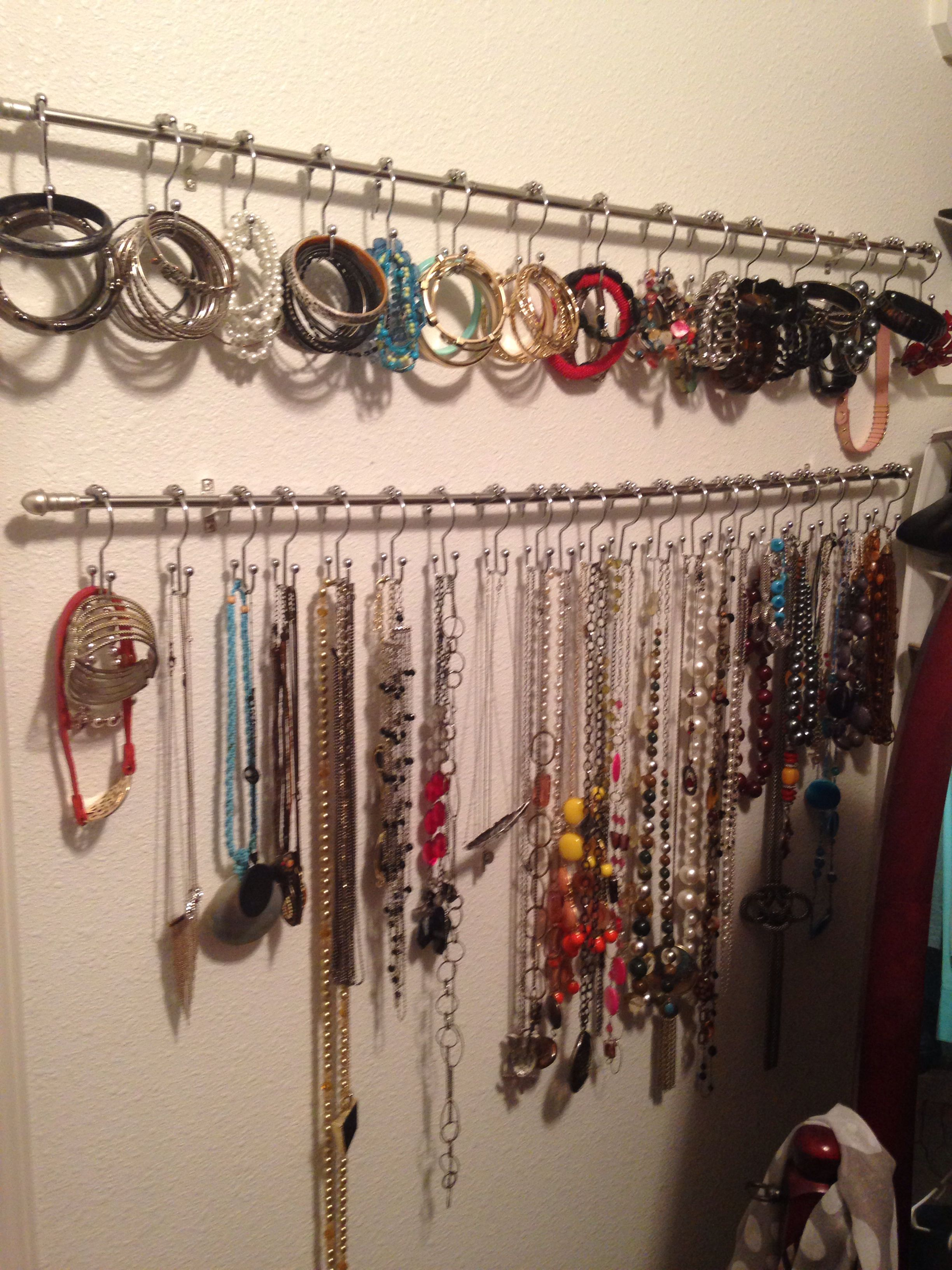 Accessory Organizer Two Curtain Rods And I Found Double Sided