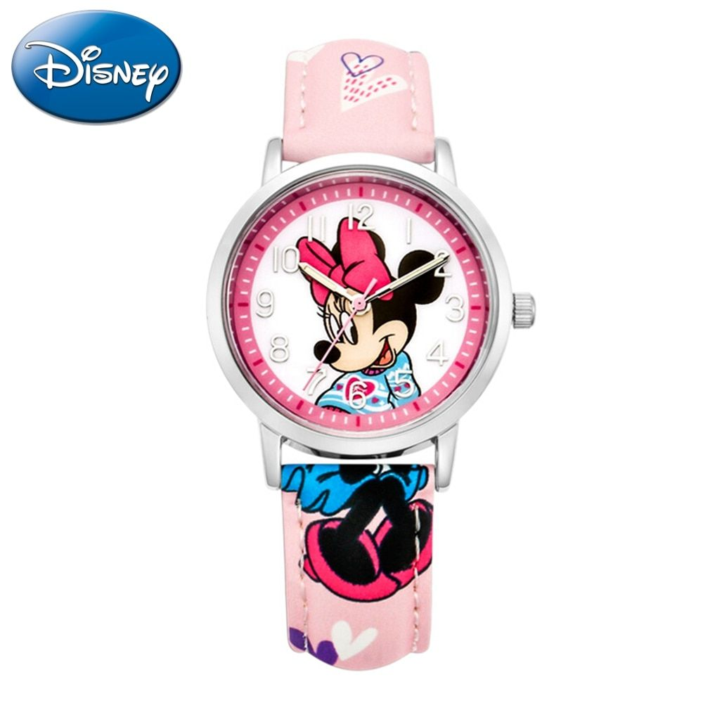 Watches Childrens Watches Disney Brand Children Girl Watches Cartoon Frozen Students Girls Clocks Waterproof Leather Quartz Wristwatch