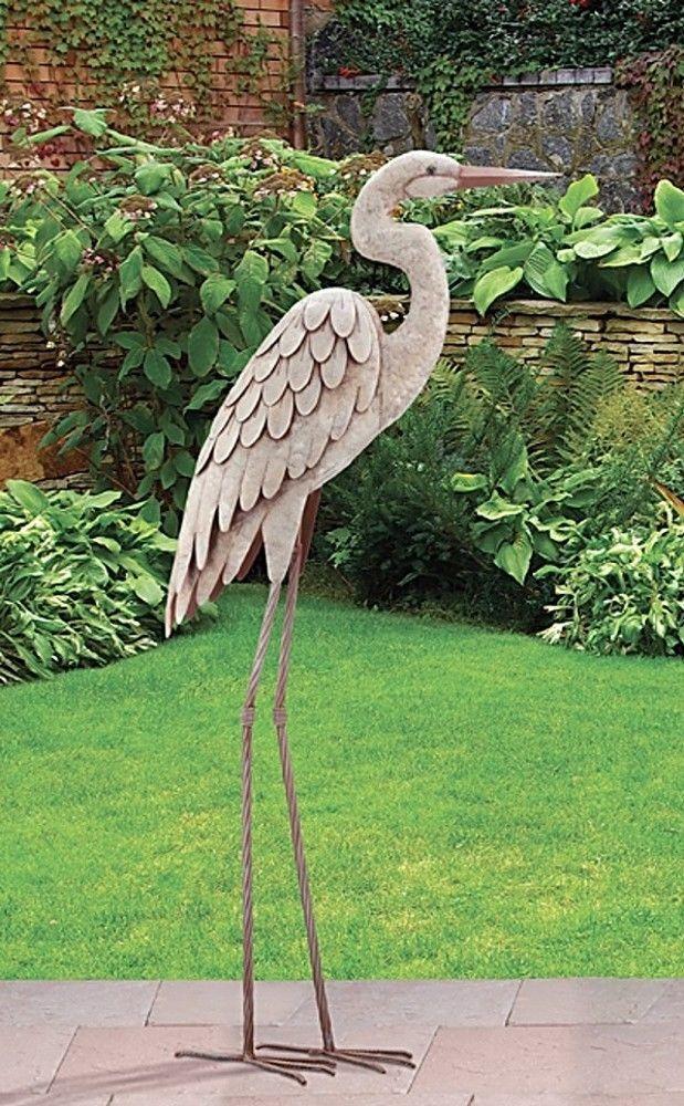 Garden Pond Egret Statue Metal Coastal Bird Indoor Outdoor Crane Heron Yard  Art #CoastalNauticalAvian