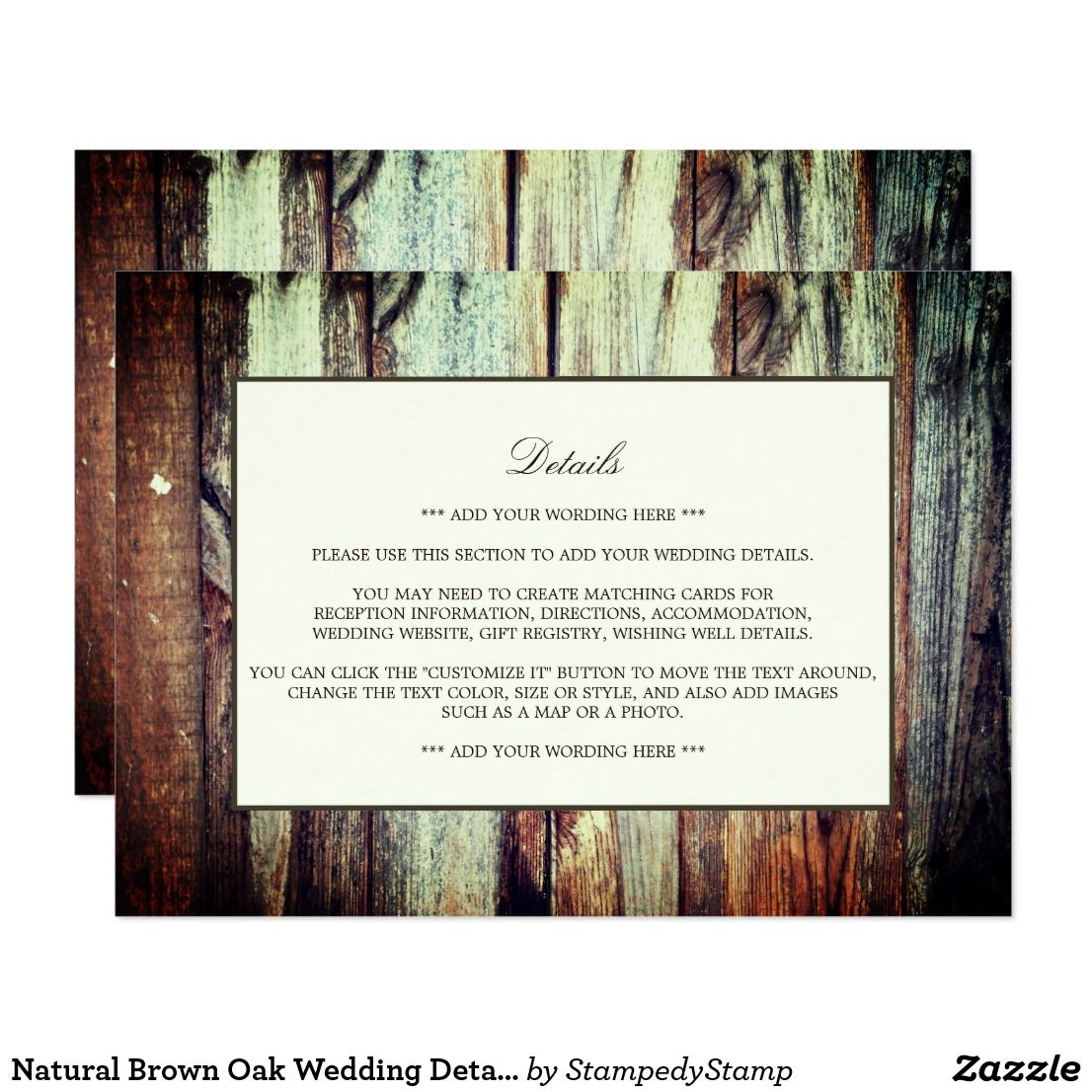 Natural Brown Oak Wedding Detail Card These detail cards are perfect ...