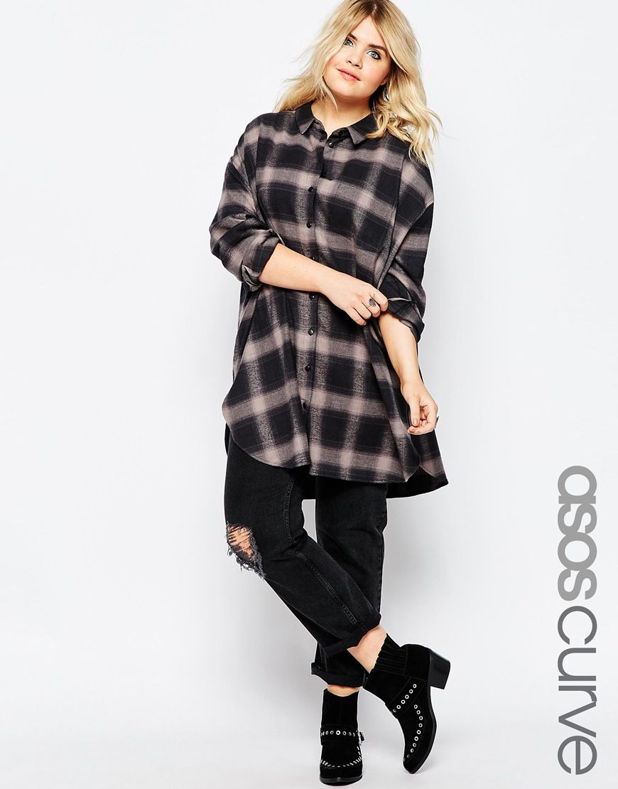 Image 1 Of ASOS CURVE Longline Shirt In Oversize Check