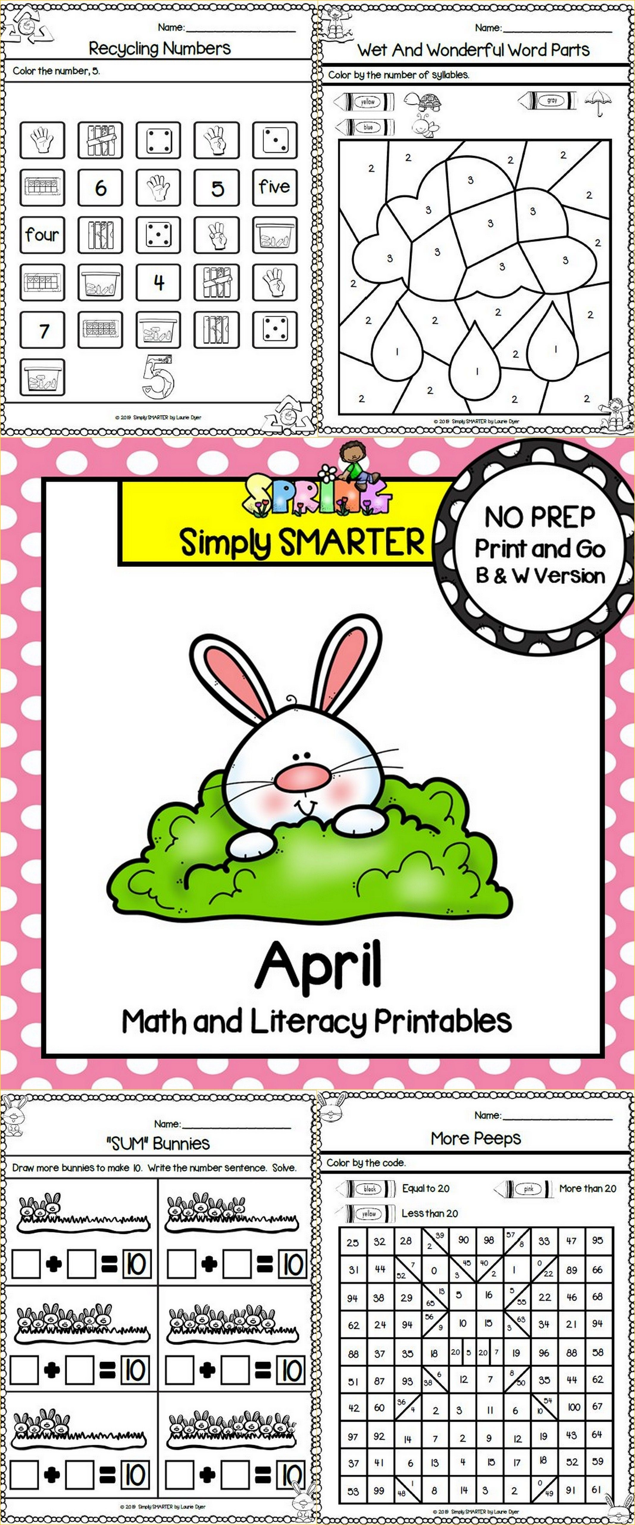 April Math And Literacy Printables And Activities For