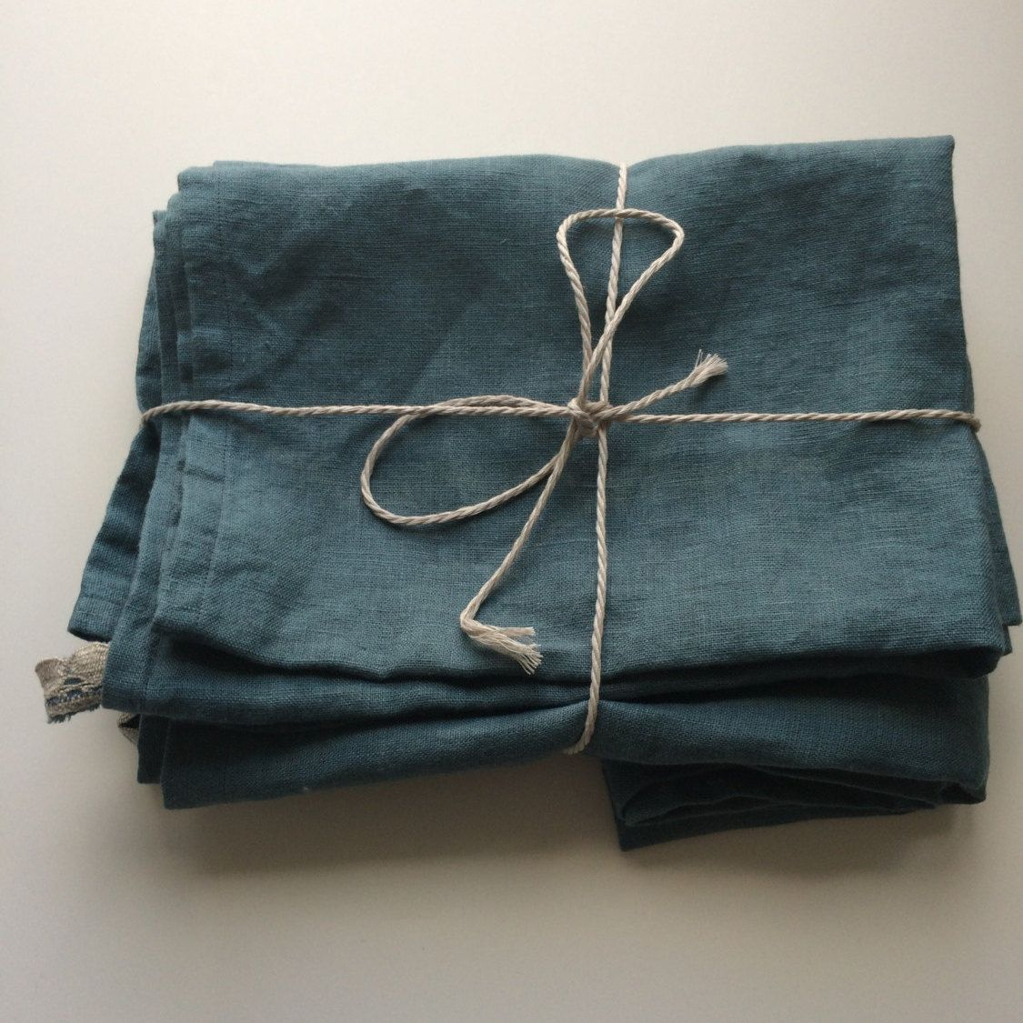 Linen Bathroom Towels, Bath and Face Towels, Stonewashed Bath and Face Towels, Blue Green Pastel Color, Towels with Lace Loop, Stone Washed by Linenstars on Etsy