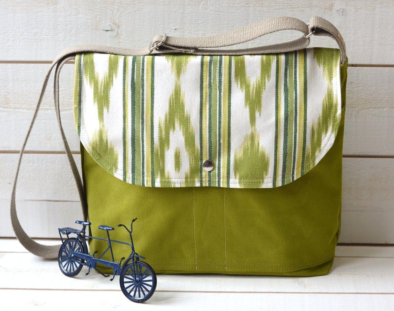 UNISEX Medium IKAT IPAD Messenger bag / Cross body bag in apple green - IKABAGS