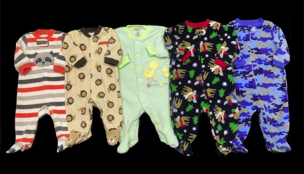 41a346580e42 Baby Boy 3 months 3-6 months ALL FLEECE Fall Winter SLEEPER PAJAMAS ...