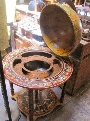 Vintage Globe Bar On Casters
