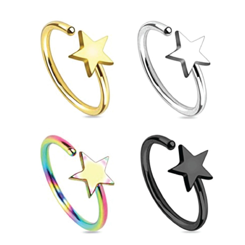 BodyJ4You® Nose Ring Hoop Septum Nostril Star Rainbow Black Goldtone Body Jewelry Set 4 Pieces