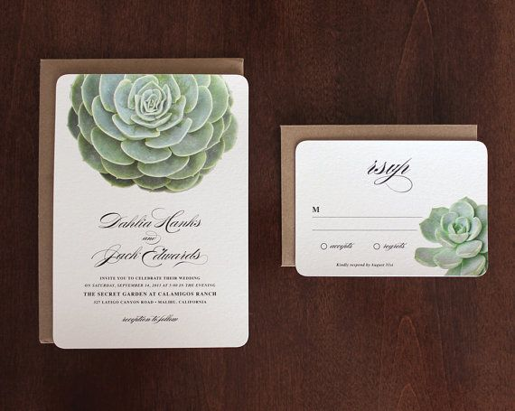 Succulent Wedding Invitations By Oakandorchid On Etsy