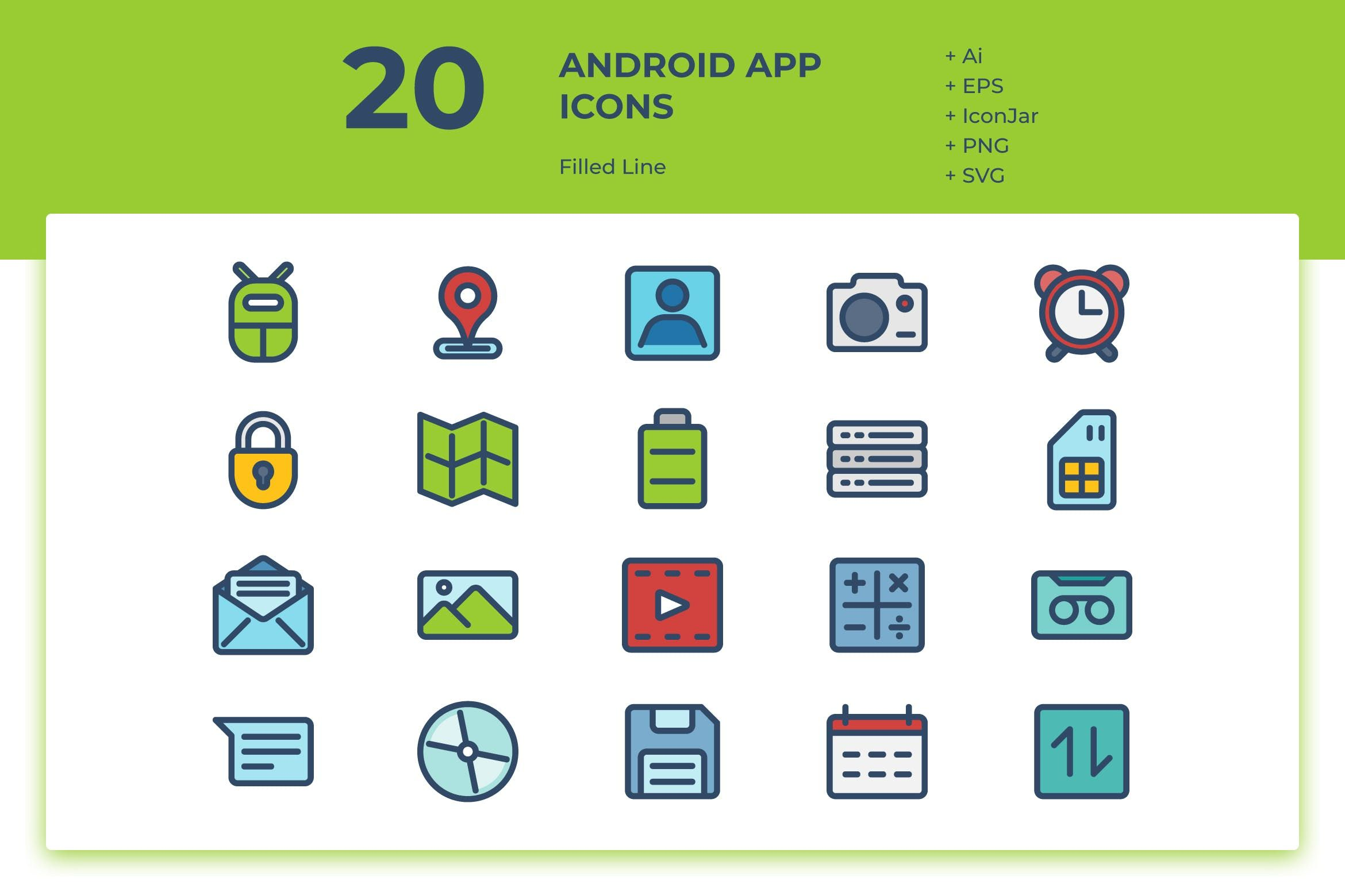 20 Android App Icons (Filled Line) by inipagi on Android