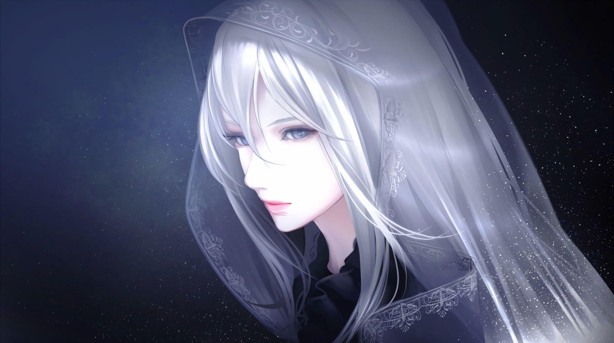 anime anime girls long hair white hair blue eyes 1080P