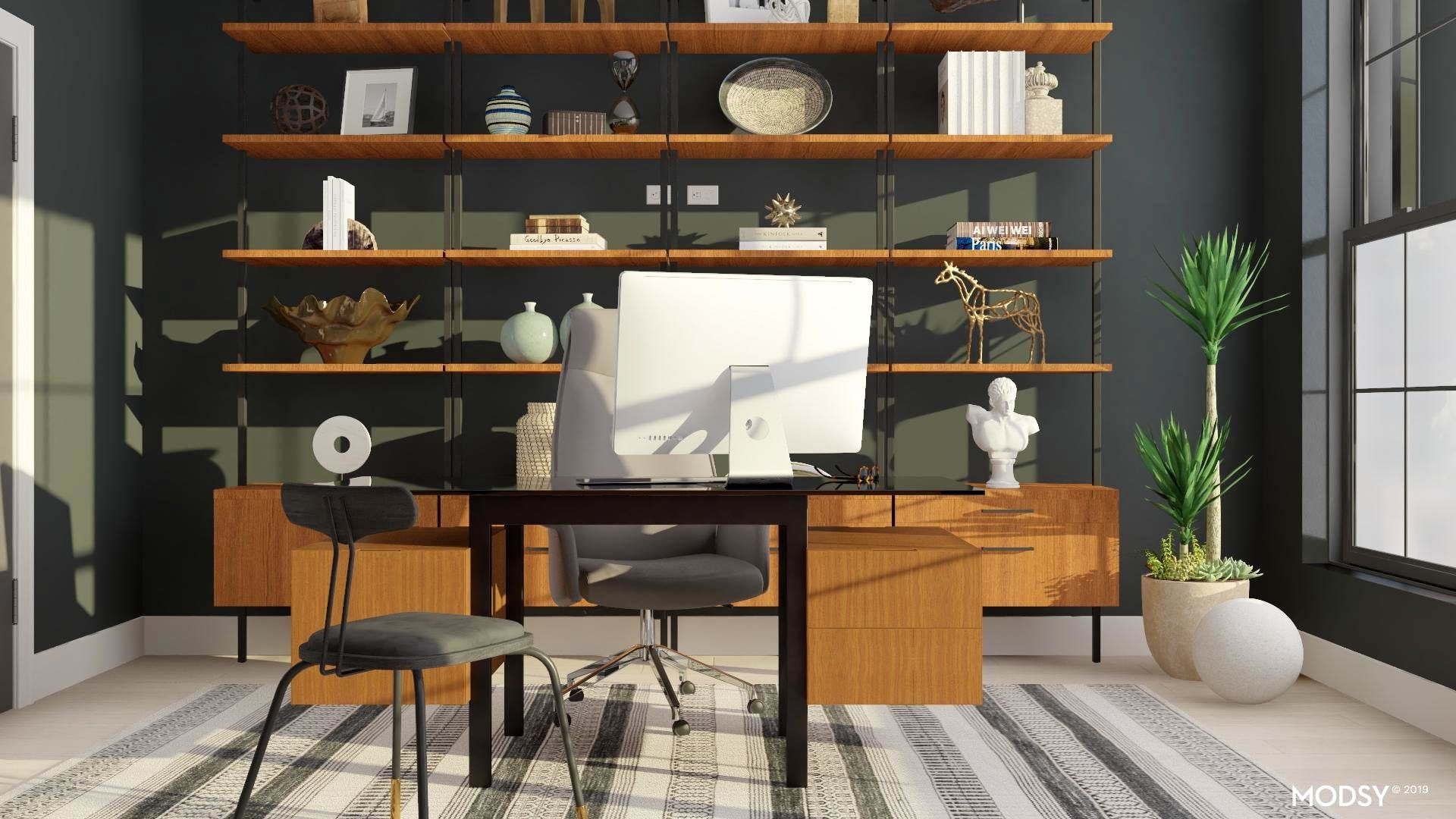 Mid-Century Modern Masculine Black And White Office Display | Mid ...