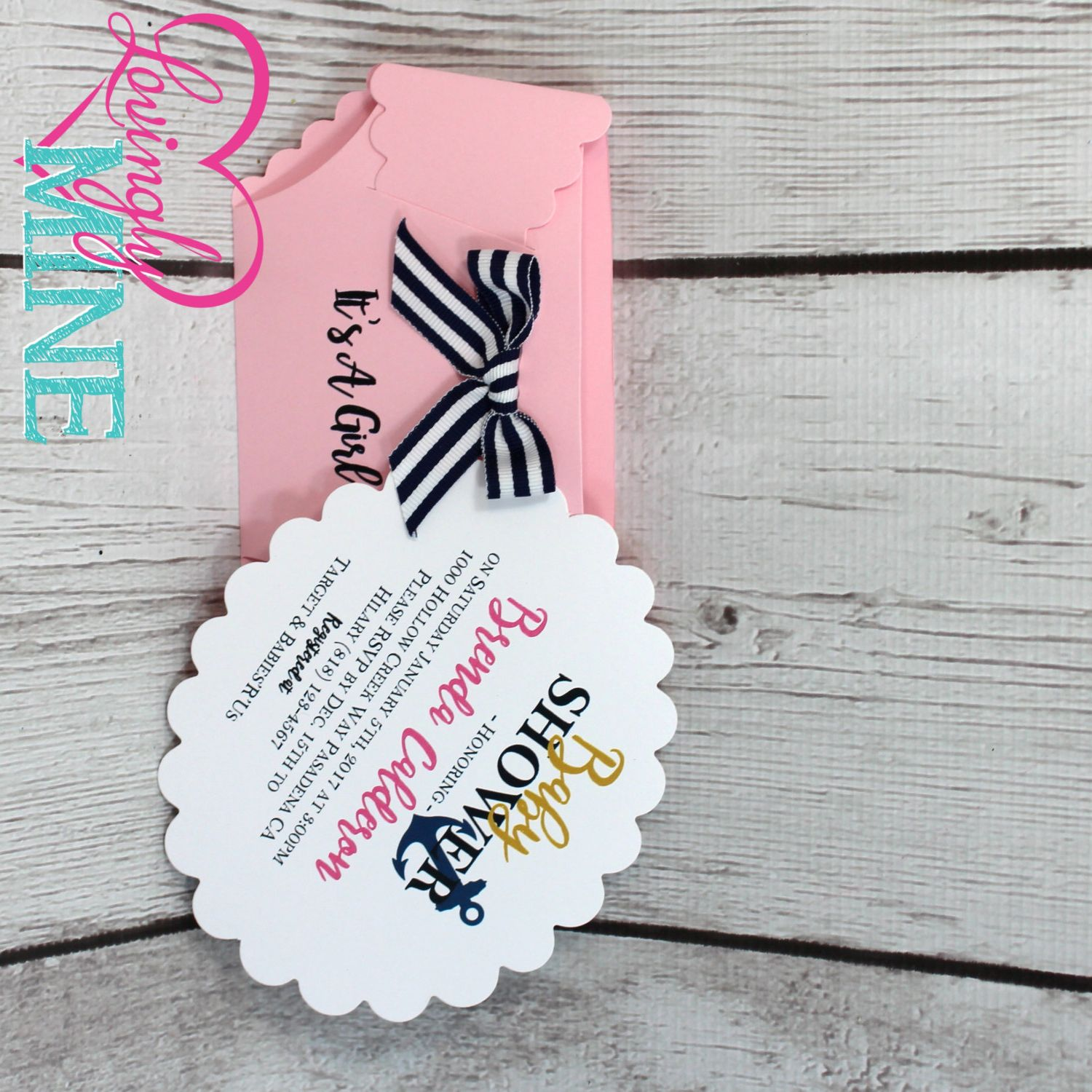 Pink Black & White Stripes and Gold Nautical Baby Shower Diaper