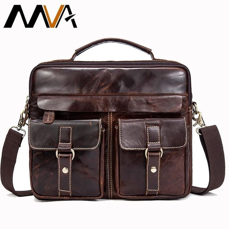 MVA Mens Messenger Bags Genuine Leather Room for Laptop and Cell