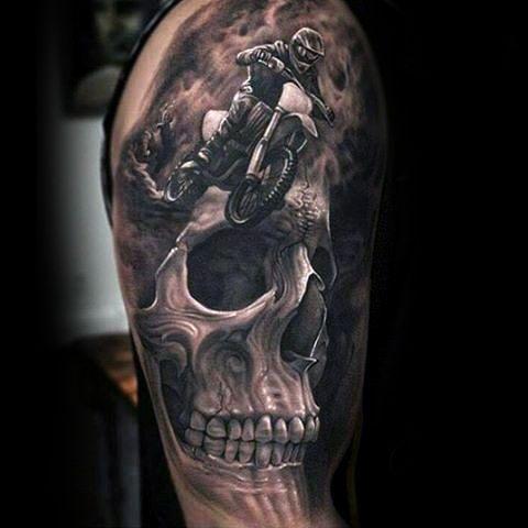 realistische 3d sch del motocross mx herren tattoos tattoos pinterest tattoo ideen. Black Bedroom Furniture Sets. Home Design Ideas