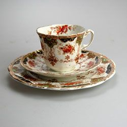 Antique Royal Stafford China Tea Cup Saucer & Side Plate Trio hand coloured transfer ware c1860