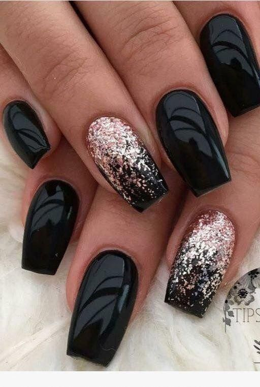 Change It To Black Rose Glitter Ombre On All Nails Ombre Nail