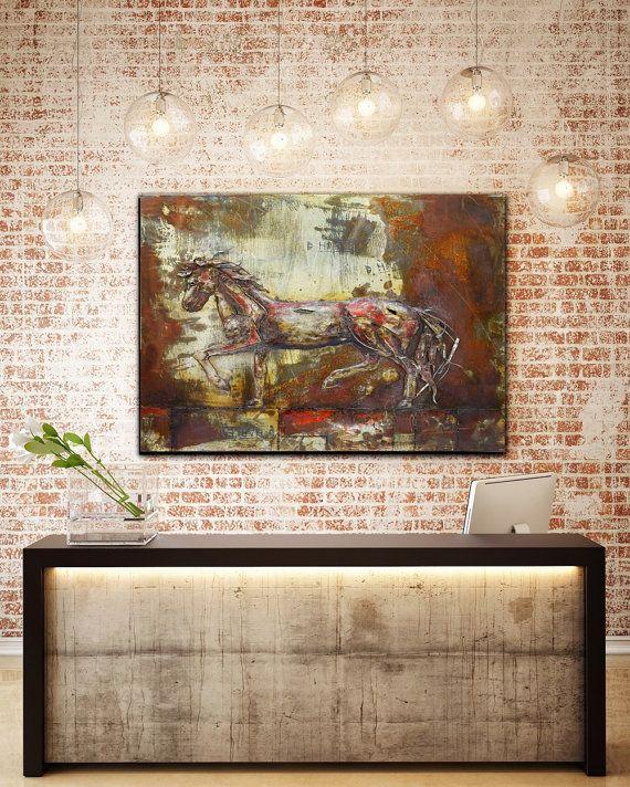 Original Horse Wall Art Metal Painting Rustic