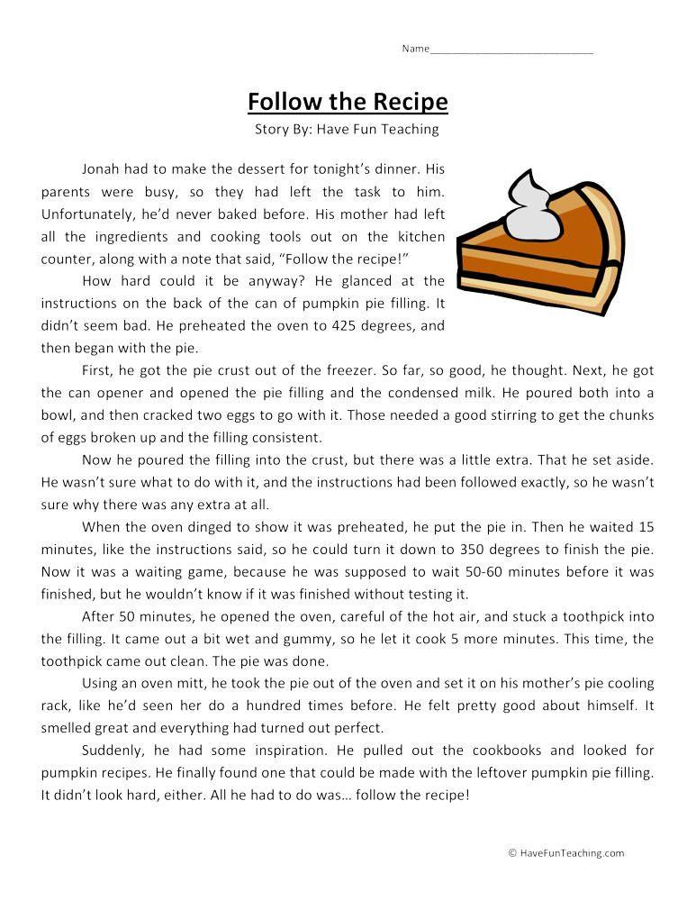 Follow The Recipe Reading Comprehension Worksheet Reading Comprehension Worksheets Reading Comprehension Comprehension Worksheets Read and comprehension worksheets