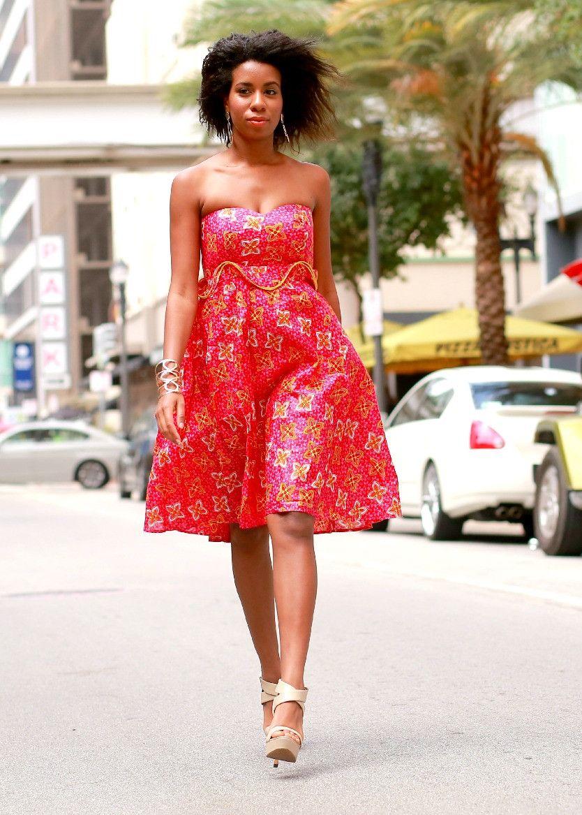 Yaya african print sexy short dress beautifully african
